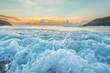 Raging waves at sunset