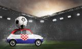Croatia flag on car delivering soccer or football ball at stadium - 208566850
