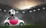 Japan flag on car delivering soccer or football ball at stadium
