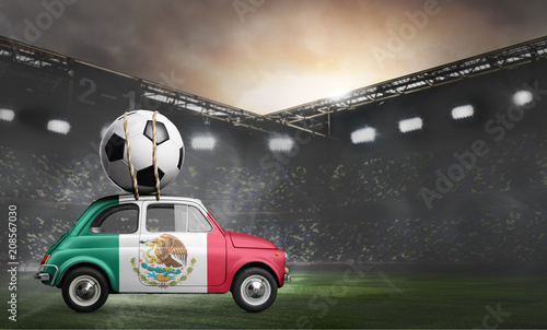 Mexico flag on car delivering soccer or football ball at stadium