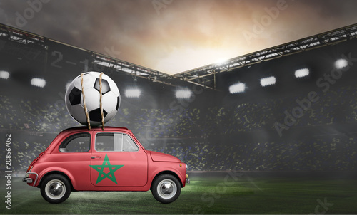 Fotobehang Marokko Morocco flag on car delivering soccer or football ball at stadium