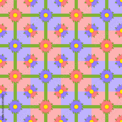 Seamless pattern of red and purple flowers with green ribbons on multi-colored squares - 208568222