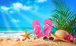 Leinwandbild Motiv Straw hat and sunglasses on beach