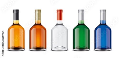 Mockup bottles of alcoholic beverages