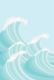 Sea waves in sea green shades, Vector background image - 208572604