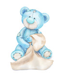 Blue teddy bear with a towel. Watercolor children's illustration can be used for baby shower card, birthday card or for newborn poster. - 208573464