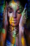 young black woman fantasy portrait double exposure - 208575034