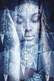 young black woman artistic portrait double exposure - 208575060