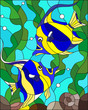Illustration in stained glass style with a with a pair of striped yellow-blue fishes on the background of water and algae