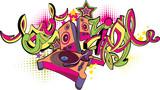 Music design - turntable and graffiti arrows