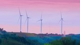 wind mill or also wind-turbine on wind farm in rotation on outdoor with cloud and sky - 208591490