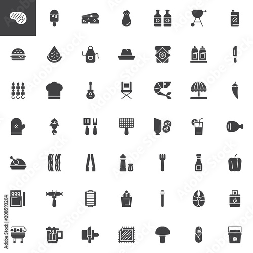 Barbecue Vector Icons Set Modern Solid Symbol Collection Filled
