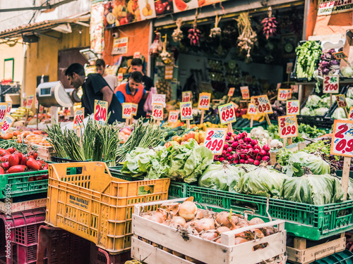 In de dag Napels Naples, Italy, June 10th 2018: The colorful ancient antignano markets of Naples