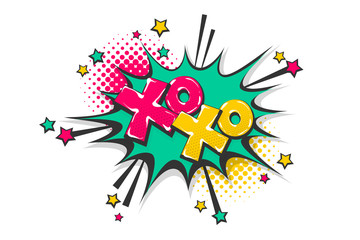 Xoxo pop art comic book text speech bubble