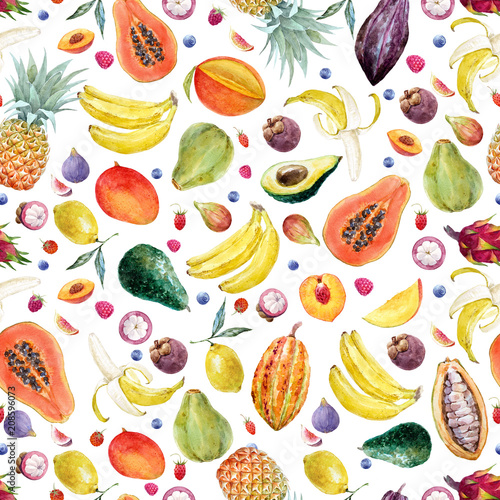 Watercolor exotic fruits pattern - 208596073