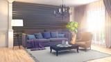 Interior living room. 3d illustration - 208597211