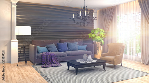 Wnętrze salonu. 3d ilustracja