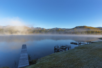 Mist on the water in the early morning