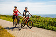 Leinwanddruck Bild - Healthy lifestyle - people riding bicycles