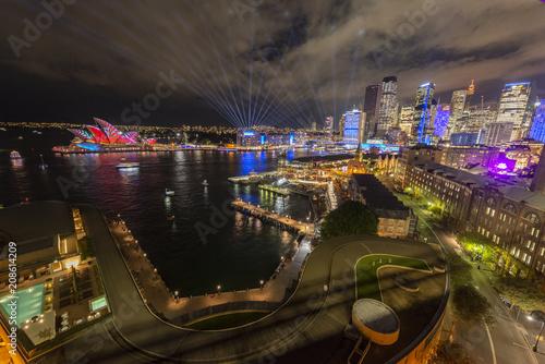 SYDNEY, AUSTRALIA - June 1: Sydney Opera House and Sydney during Vivid Sydney: A Festival of Light, Music & Ideas on June 1, 2018 in Sydney, Australia.