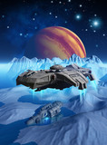 spaceship that explores the surface of the frozen moon Europa, around jupiter planet, looking for a wreck, 3d render