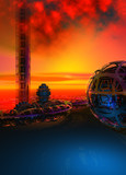 The ruins of an alien civilization on an unknown planet, sunset sky, blue ground, 3d illustration