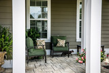 Traditional Outdoor Porch with Cat - 208617896