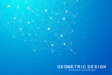 Abstract polygonal background with connected lines and dots. Minimalistic geometric pattern. Molecule structure and communication. Graphic plexus background. Science, medicine, technology concept.