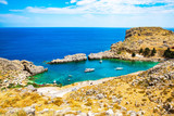 Beautiful bay with sand beaches on Rhodes Island, Mediterranean Sea, Greece