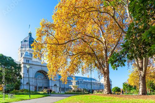 Aluminium Honing Royal Exhibition Building in Autumn. Melbourne, Australia