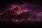 geheimnissvoll berglandschaft rot