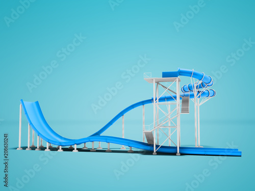Blue water attraction for water park 3d render not blue background with shadow
