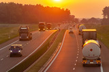 traffic on the Polish highway during sunset - 208631248