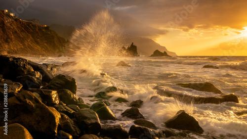 Aluminium Strand sea landscape, dynamic sunset over the ocean. Benijo in Tenerife