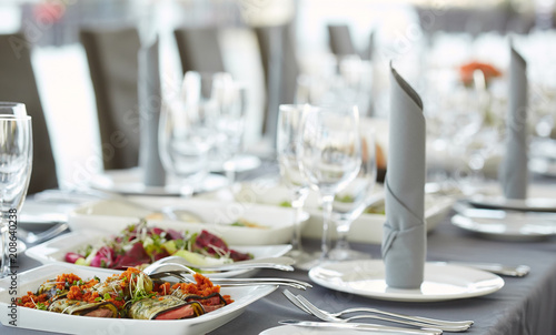 Close-up image of a festive table with different dishes.  - 208640238