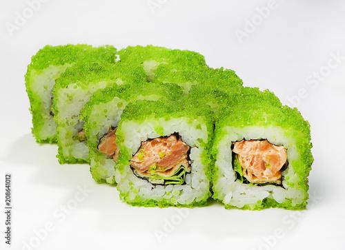 Aluminium Sushi bar Rolls (tobiko, salmon in Teriyaki sauce, Iceberg salad, scrambled eggs, spice sauce)