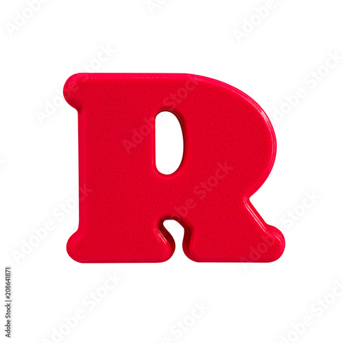 Foto Murales letter R uppercase alphabet plastic on white background with Clipping path