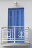 blue shutters balcony with marine theme railings