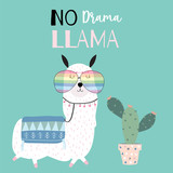 Hand drawn cute card with llama,glasses and cactus. llama not drama - 208644666