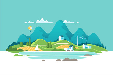 Summer landscape with houses on a background lake and of forest mountains. Vector illustration.