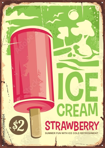 Aluminium Vintage Poster Ice cream vintage ad design with pink strawberry ice cream on green background. Retro poster advertising for sweet tasty refreshment.