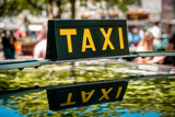 vintage taxi sign on car roof - cab driver - - 208648473