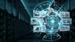 Futuristic drone security camera illustration 3D rendering