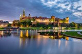 Wawel Castle in Krakow, Poland, seen from the Vistula boulevards in the morning - 208652012