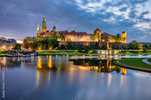 Wawel Castle in Krakow, Poland, seen from the Vistula boulevards in the morning