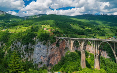 Panoramic view of the  Djurdjevic bridge above Tara river, Montenegro. © sola_sola