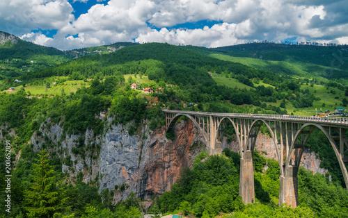 Fotobehang Bruggen Panoramic view of the Djurdjevic bridge above Tara river, Montenegro.