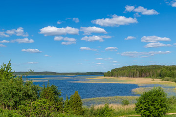 Beautiful view of the hills and lakes of Braslav region, Belarus
