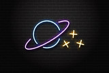 Vector realistic isolated neon sign of planet and stars for decoration and covering on the wall background. Concept of space and galaxy.