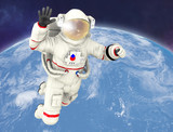 Astronaut waving, Planet Earth in background. Elements of this image furnished by NASA. 3D rendering.